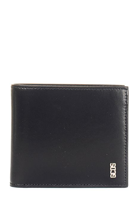 BLACK LEATHER WALLET WITH LOGO APPLICATION GCDS | Wallets | FW21M010091NERO