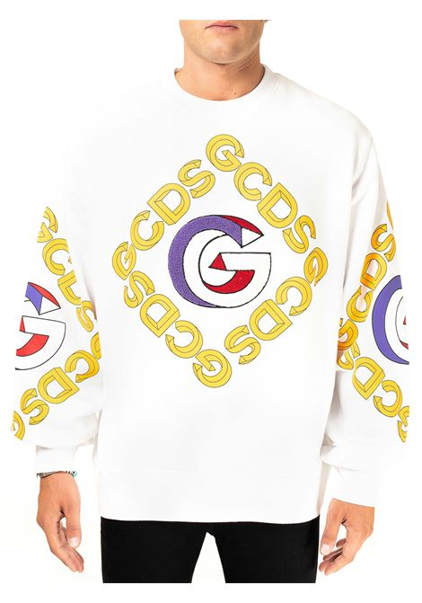 WHITE COTTON SWEATSHIRT WITH 3D CREW NECK GCDS | Sweatshirts | FW21M020055BIANCO