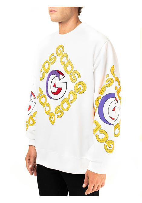 WHITE COTTON SWEATSHIRT WITH 3D CREW NECK GCDS | Sweatshirts | FW21M020055BIANCO
