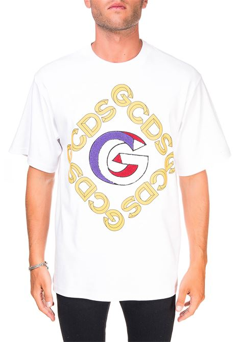 WHITE COTTON T-SHIRT WITH FRONT LOGO APPLICATION GCDS | T-shirt | FW21M020056BIANCO