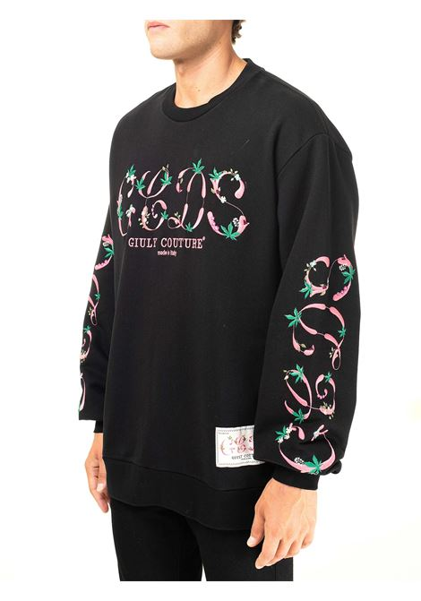 BLACK COTTON SWEATSHIRT WITH GIULYCOUTURE SCOOP NECK GCDS | Sweatshirts | FW21M020104NERO