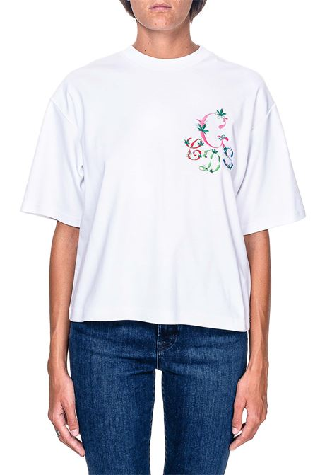 WHITE COTTON T-SHIRT WITH GCDS GIULY COUTURE LOGO EMBROIDERY GCDS | T-shirt | FW21M020106BIANCO