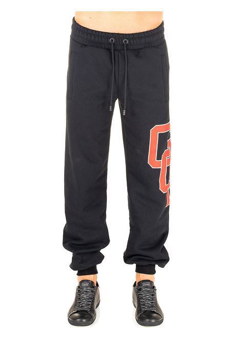 BLACK COTTON PANTS WITH COLLEGE GCDS LOGO PRINT GCDS | Pants | FW21M030036NERO