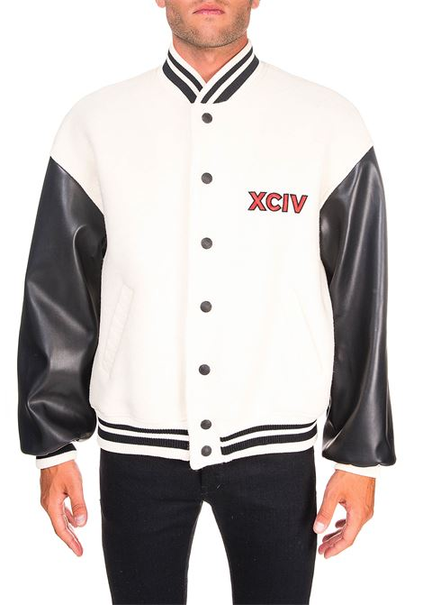 WHITE WOOL BLEND JACKET WITH FRONT LOGO EMBROIDERY GCDS | Jackets | FW21M040070BIANCO