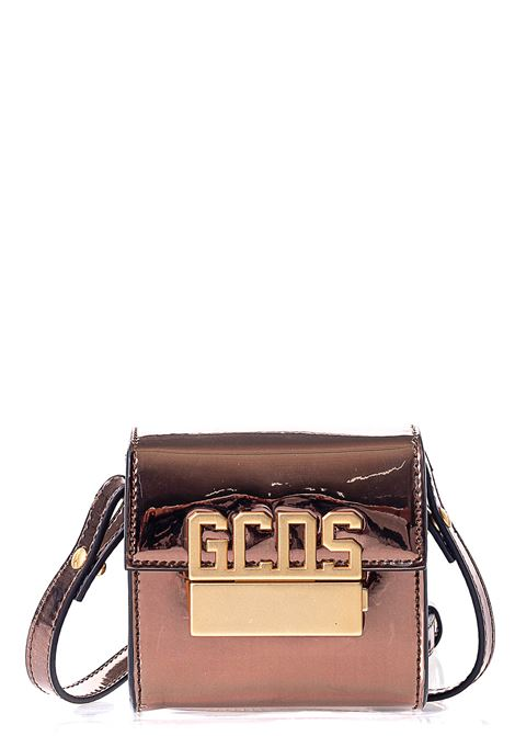 BRONZE MINI CUBE BAG WITH FRONT LOGO APPLICATION GCDS | Bags | FW21W010207BRONZO