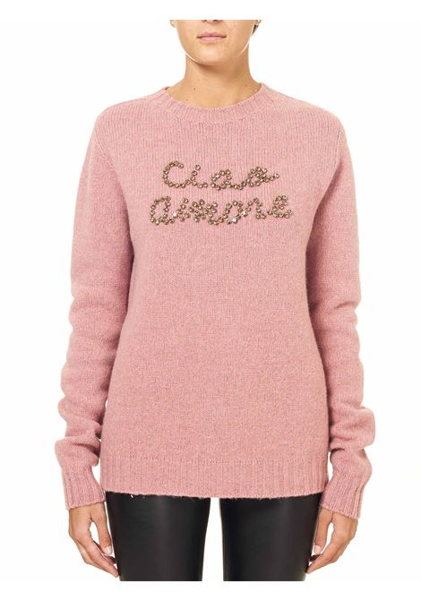 PINK WOOL SWEATER WITH FRONT STRASS APPLICATION GIADA BENINCASA | Sweaters | F0555TE37