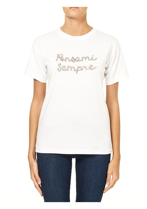 WHITE COTTON T-SHIRT WITH FRONT RHINESTONE APPLICATION MODEL ALWAYS THINK OF ME GIADA BENINCASA | T-shirt | F0805TR3