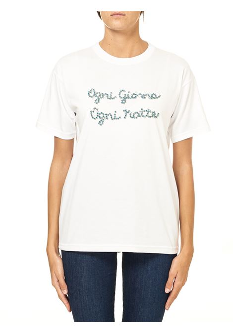 WHITE COTTON T-SHIRT WITH FRONT RHINESTONE APPLICATION MODEL EVERY DAY EVERY NIGHT GIADA BENINCASA | T-shirt | F0806TR4