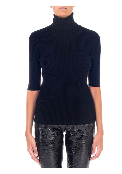BLACK WOOL HIGH NECK SWEATER GRIFONI | Sweaters | GH210043/63003