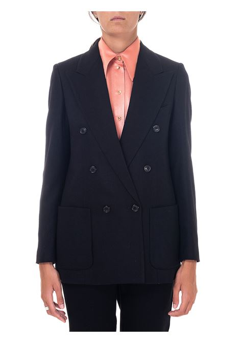 DOUBLE-BREASTED BLACK WOOL JACKET GRIFONI | Jackets | GH234006/15003