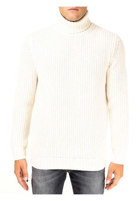 HIGH NECK WHITE SWEATER IN MERINO WOOL KANGRA | Sweaters | 120105706