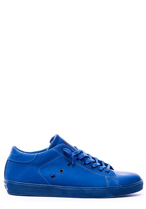 BLUE LEATHER SNEAKERS WITH LOGO PRINT ON TONGUE LEATHER CROWN | Sneakers | M103-22COBALTO