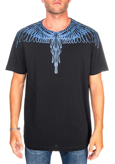 BLACK COTTON T-SHIRT WITH PICTORAL WINGS BASIC PRINT MARCELO BURLON | T-shirt | CMAA018E20JER0031045