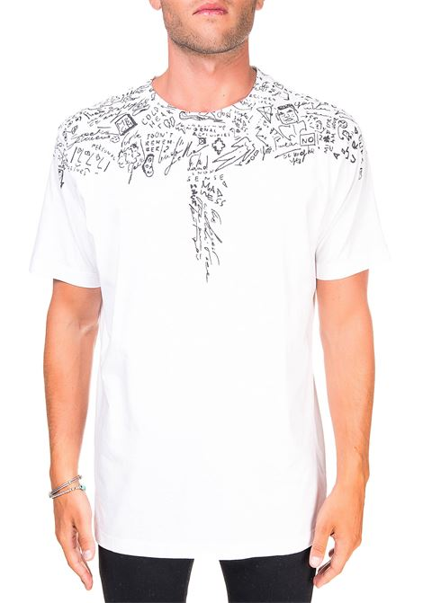 WHITE COTTON T-SHIRT WITH SKATCHES WINGS BASIC PRINT MARCELO BURLON | T-shirt | CMAA018E20JER0050110