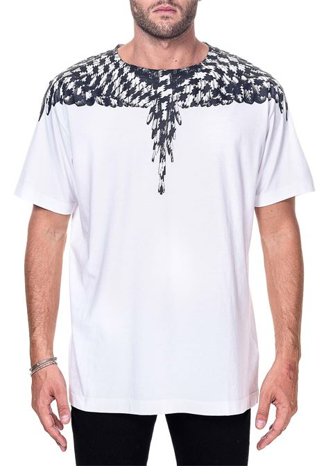 WHITE COTTON T-SHIRT WITH CROSS PDP WINGS PRINT MARCELO BURLON | T-shirt | CMAA018F20JER0030110