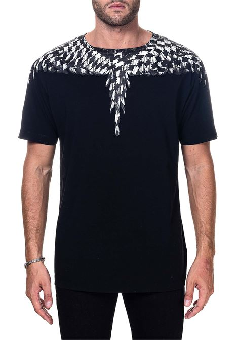 BLACK COTTON T-SHIRT WITH CROSS PDP WINGS PRINT MARCELO BURLON | T-shirt | CMAA018F20JER0031010