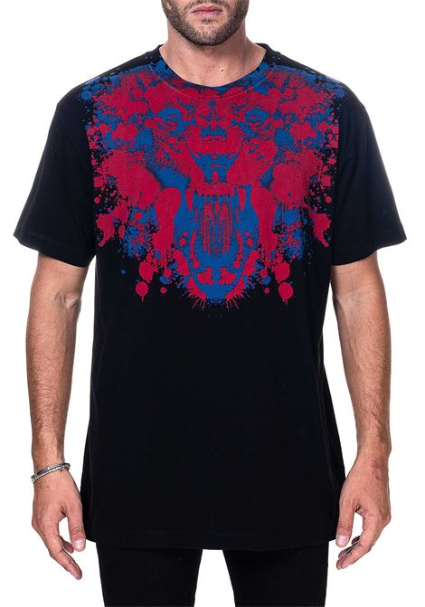 BLACK COTTON T-SHIRT WITH FRONT TIGER BASIC PRINT MARCELO BURLON | T-shirt | CMAA018F20JER0151025