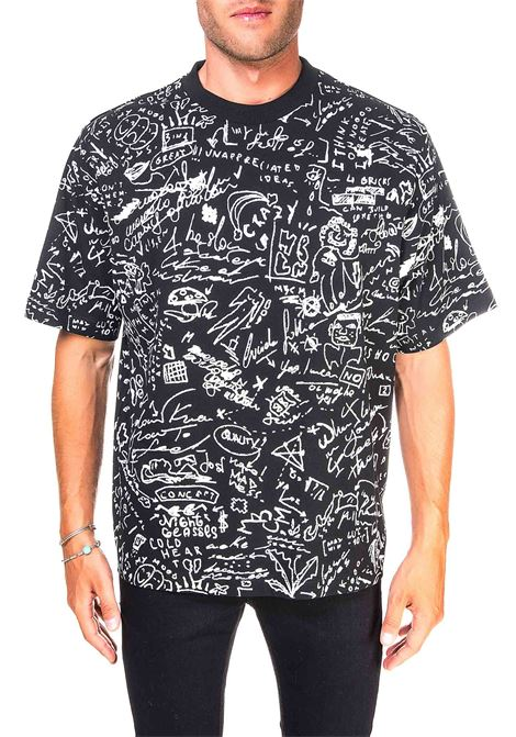 BLACK COTTON T-SHIRT WITH ALL OVER SKETCHES PRINT MARCELO BURLON | T-shirt | CMAA054E20JER0011001