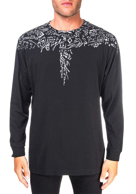 BLACK COTTON T-SHIRT WITH HIGH BASIC SKETCH PRINT MARCELO BURLON | T-shirt | CMAB007E20JER0031001