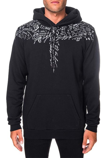 BLACK SWEATSHIRT IN SKETCHES WING PRINT COTTON MARCELO BURLON | Sweatshirts | CMBB007E20FLE0031001