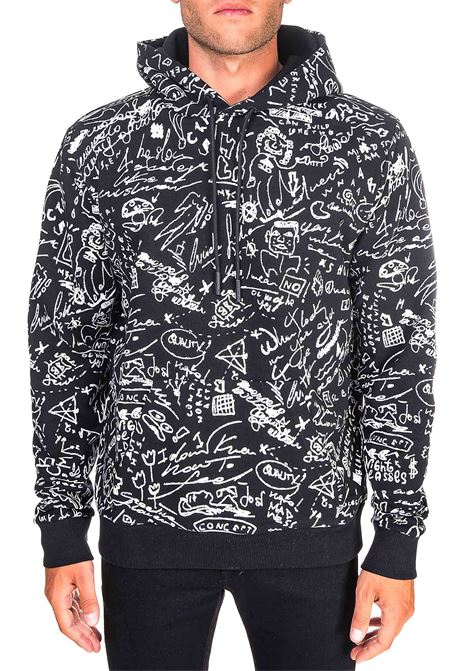 BLACK COTTON SWEATSHIRT WITH ALL OVER SKETCHES HOODIE PRINT MARCELO BURLON | Sweatshirts | CMBB007E20FLE0061001