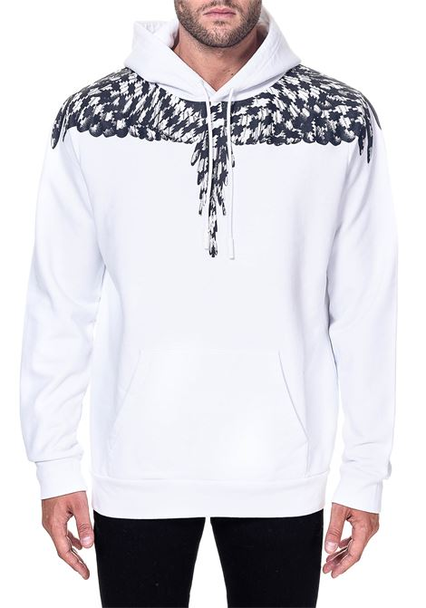 WHITE COTTON SWEATSHIRT WITH CROSS PDP WINGS PRINT MARCELO BURLON | Sweatshirts | CMBB007F20FLE0030110