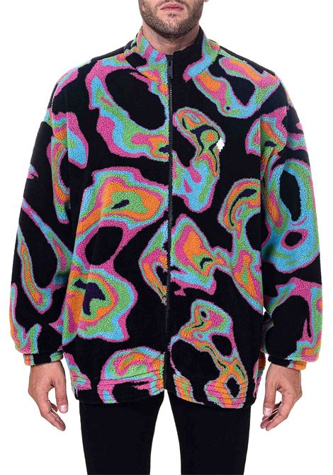 BLACK JACKET WITH ALL OVER PSYCH PILE TRACK PRINT MARCELO BURLON | Jackets | CMEA151F20FAB0011084