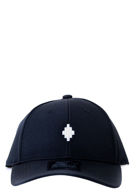 BLACK HAT WITH FRONT LOGO EMBROIDERY, CROSS BASEBALL MODEL MARCELO BURLON | Hats | CMLB008E20FAB0011001