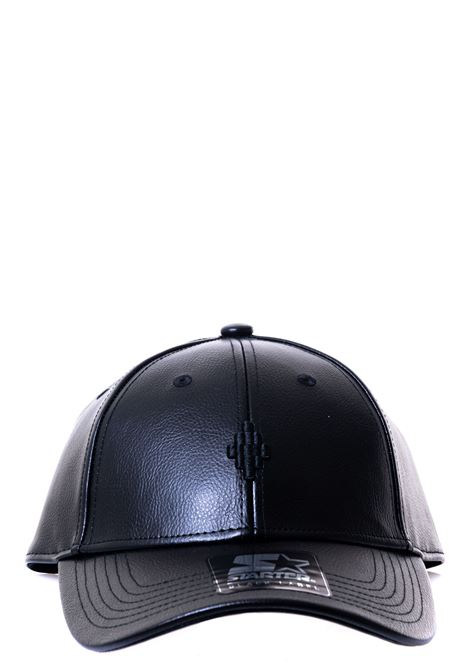 BLACK FAUX LEATHER HAT WITH FRONT LOGO EMBROIDERY MARCELO BURLON | Hats | CMLB008F20FAB0041010
