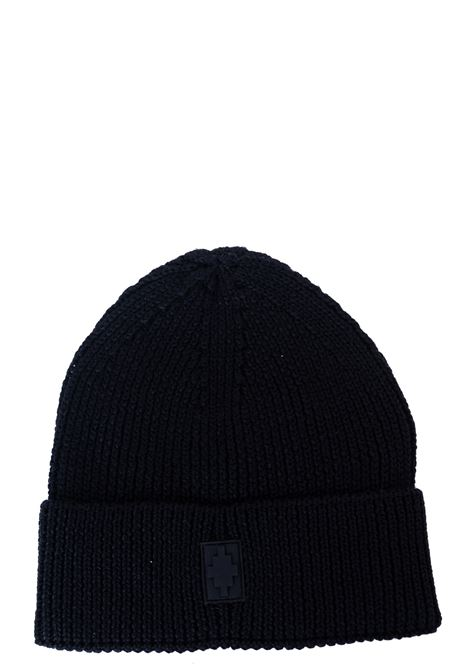 BLACK WOOL BLEND HAT WITH FRONT LOGO APPLICATION MARCELO BURLON | Hats | CMLC007F20KNI0011010