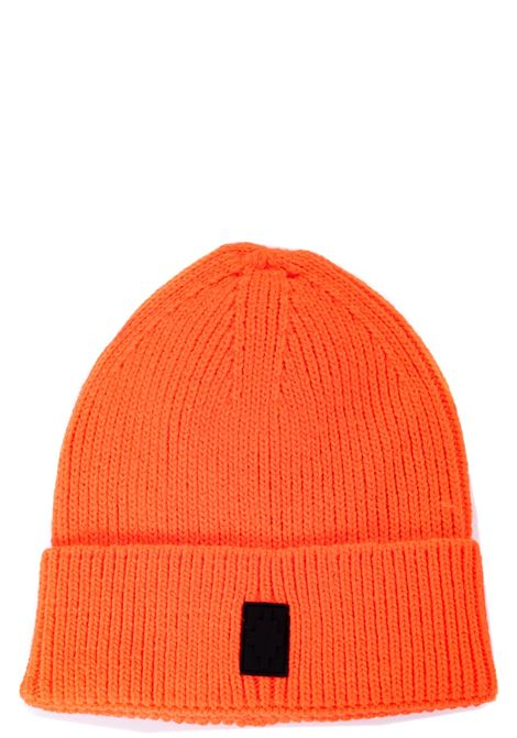 ORANGE WOOL BLEND HAT WITH FRONT LOGO APPLICATION MARCELO BURLON | Hats | CMLC007F20KNI0012010