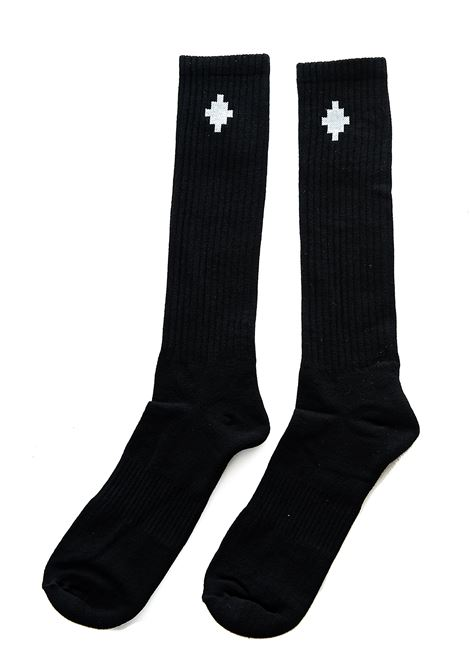 BLACK COTTON BLEND SOCK WITH LOGO EMBROIDERY MARCELO BURLON | Socks | CMRA009E20KNI0011001