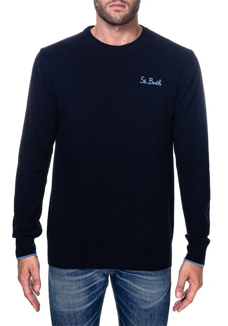 BLUE WOOL AND CASHMERE BLEND SWEATER WITH FRONT LOGO EMBROIDERY MC2SAINTBARTH | Sweaters | SB6131SB6131BLU
