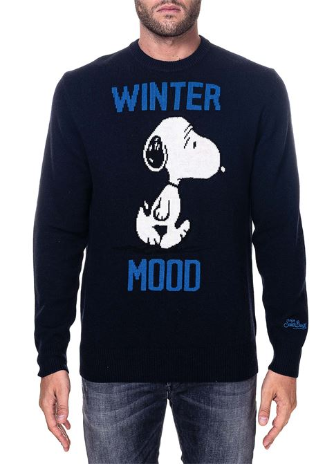 BLUE SWEATER IN MIXED WOOL AND CASHMERE MODEL HERON SNOOPY WINTER MC2SAINTBARTH | Sweaters | SNWI61SNOOPYWINTER61BLU