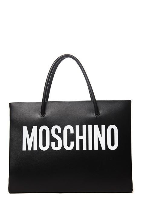 BLACK SHOPPER IN CALFSKIN WITH FRONT LOGO MOSCHINO | Bags | 741580011555