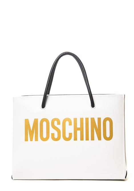 WHITE SHOPPER IN CALFSKIN WITH FRONT LOGO MOSCHINO | Bags | 741580014001