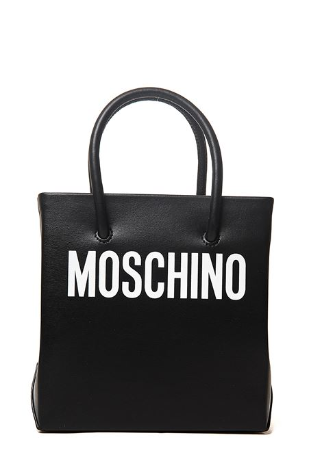 BLACK MINI BAG IN CALF LEATHER WITH LOGO APPLICATION IN FRONT CONTRAST MOSCHINO | Bags | 741680011555