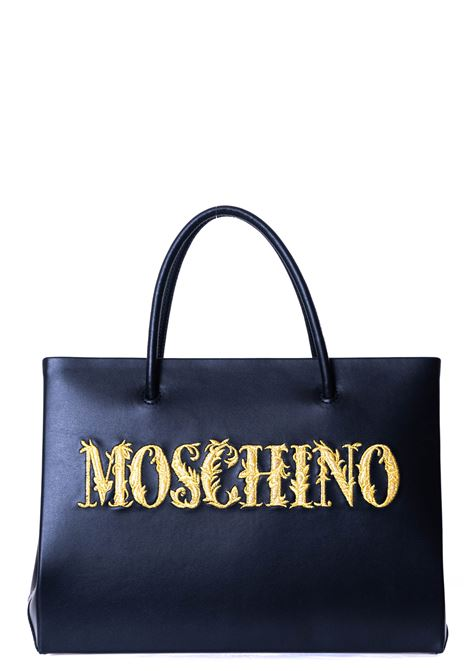 BLACK LEATHER BAG WITH FRONT LOGO EMBROIDERY MOSCHINO | Bags | 748780015555