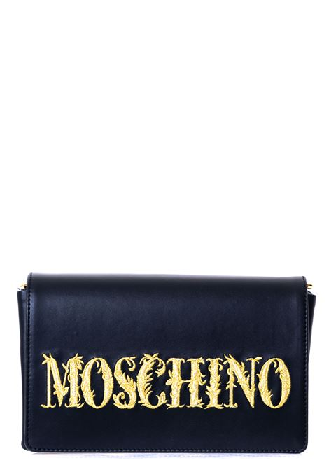 BLACK LEATHER BAG WITH FRONT LOGO EMBROIDERY MOSCHINO | Bags | 748880015555
