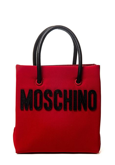 RED MINI BAG IN CALF LEATHER WITH MOSCHINO TEDDY BEAR PATCH MOSCHINO | Bags | 754582122115