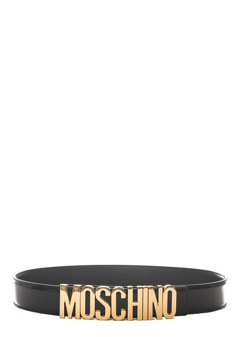 BLACK BELT WITH GOLD LOGO GLOSSY MOSCHINO | Belts | 801280070555