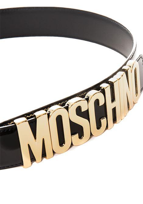 BLACK BELT WITH GOLD LOGO GLOSSY MOSCHINO | Belts | 801280070555