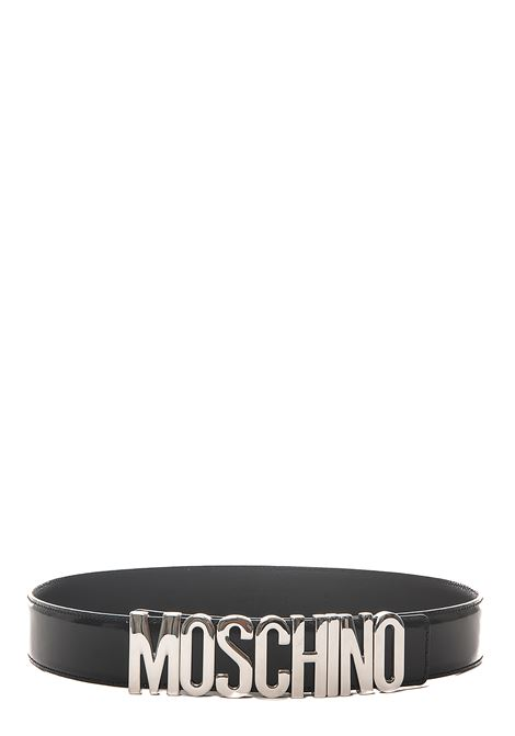 BLACK BELT WITH SILVER LOGO GLOSSY MOSCHINO | Belts | 801280071555