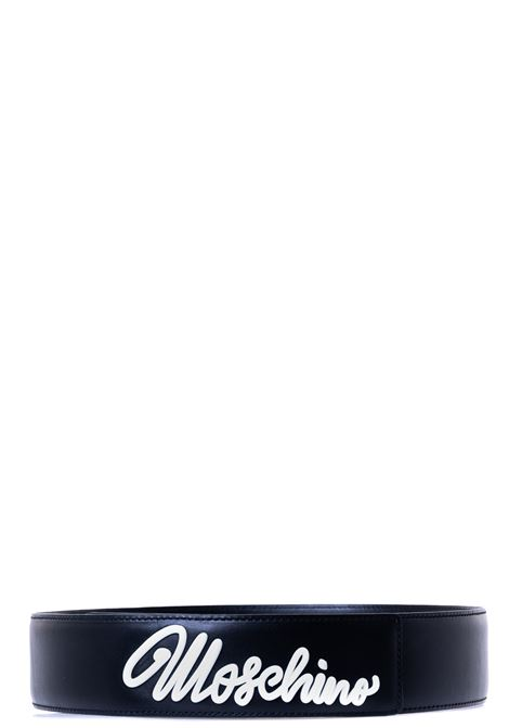 CINTURA NERA IN PELLE CON LOGO ICING WHITE MOSCHINO | Cinture | 803380015555