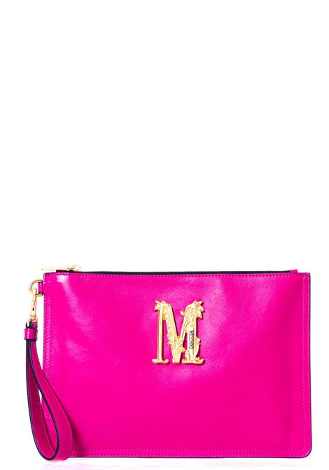 FUCHSIA LEATHER CLUTCH WITH FRONT LOGO APPLICATION MOSCHINO |  | 84318008217