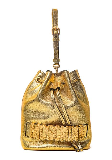 GOLD BAG IN CALF LEATHER WITH FRONT LOGO APPLICATION MOSCHINO | Bags | 843280051606
