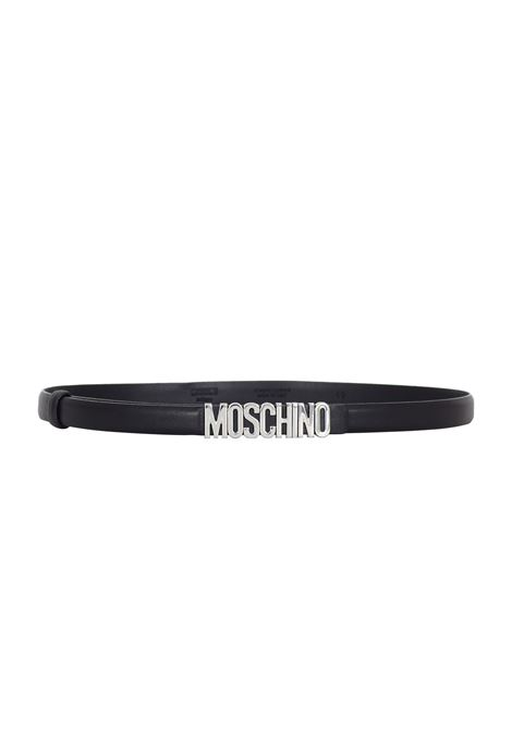 BLACK BELT WITH SILVER LOGO MOSCHINO | Belts | 800880013555