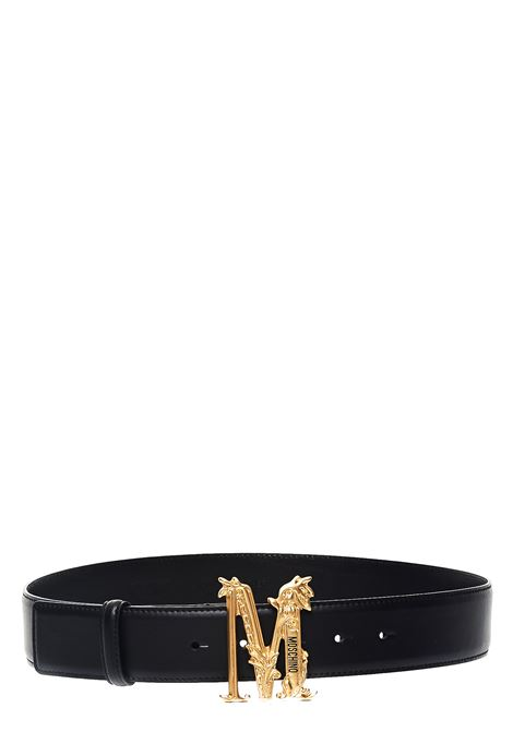 BLACK LEATHER BELT WITH GOLD LOGO LETTER M MOSCHINO |  | A80368008555
