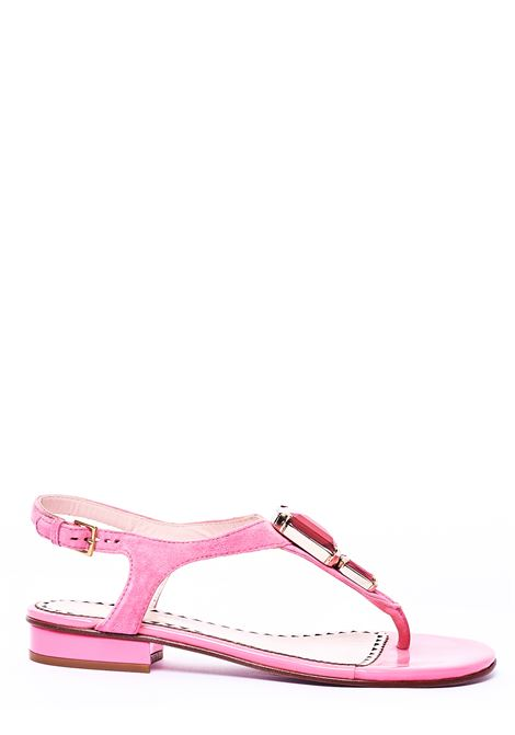PINK FLAT SANDALS WITH FRONT SWAROSKI APPLICATION MOSCHINO | Slide Sandals | CA16272COZCA0618FUCSIA