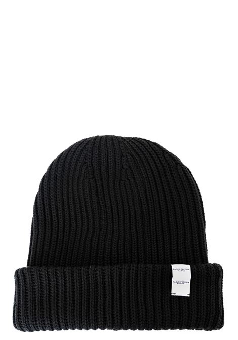BLACK WOOL HAT WITH LOGO PLATE APPLICATION PAOLO PECORA | Hats | 1304770129000
